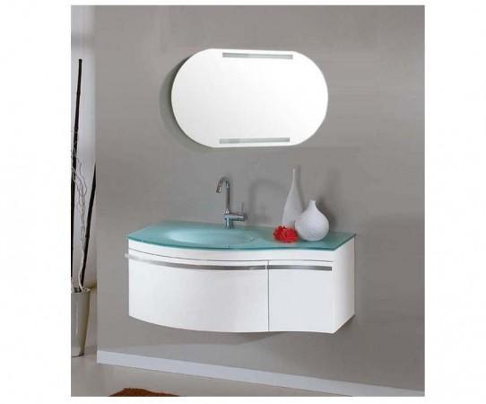 Arredo bagno mobile singolo mobile bagno pensile bianco da 100 cm completo c g home design - Pensile bagno bianco ...