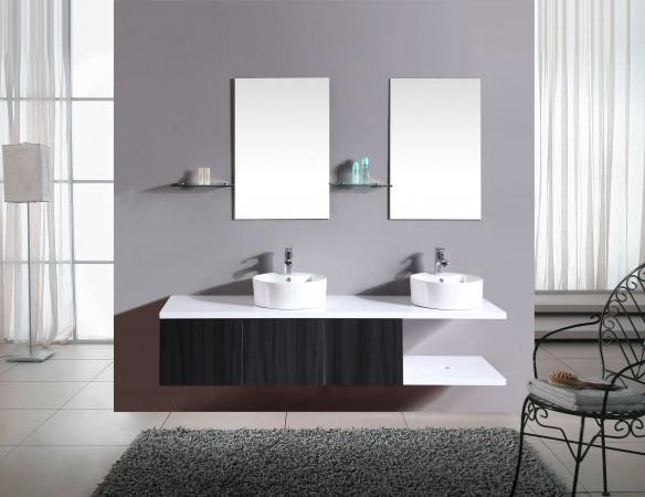 Arredo bagno mobile doppio mobile bagno pensile wenge 39 da 180 cm completo doppio lavabo c g - Arredo bagno doppio lavabo ...
