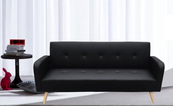 Divani letto divani ecopelle divano letto litz reclinabile lusso ecopelle nero piedi legno c g - Divano ecopelle nero ...