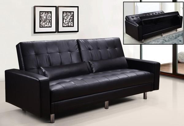 Divani letto divani ecopelle divano letto contenitore ecopelle nero hugo 39 reclinabile cuscini - Divano ecopelle nero ...