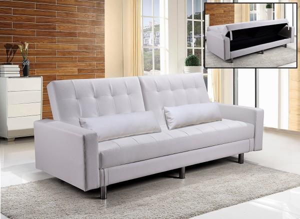 Divani letto divani ecopelle divano letto contenitore ecopelle bianco hug reclinabile cuscini - Divano bianco ecopelle ...