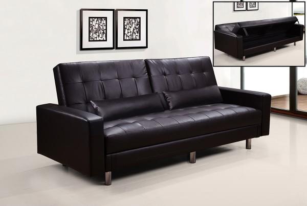 Divani letto divani ecopelle divano letto contenitore ecopelle marrone hugo 39 reclinabile cusc - Divano letto in ecopelle ...