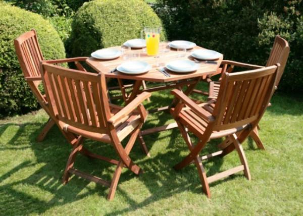 Arredamento esterno tavoli giardino set tavolo da giardino pieghevole 4 sedie in legno c g - Set tavolo e sedie da esterno ...
