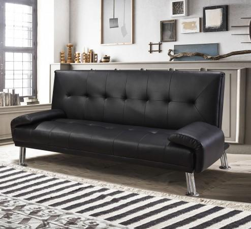 Divani letto divani ecopelle divano letto ecopelle nero reclinabile cuscini 3 posti doppio it - Divano ecopelle nero ...