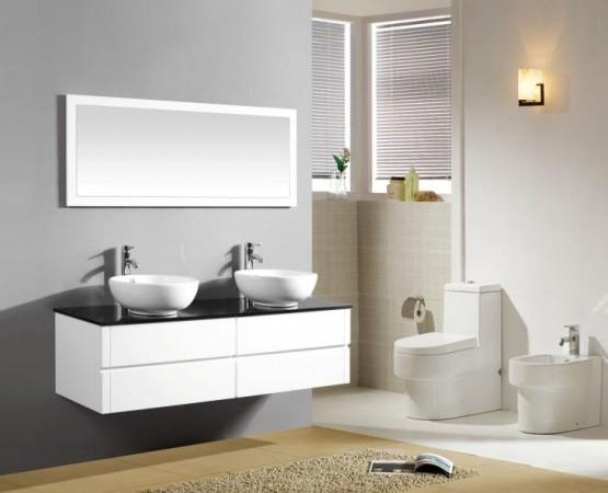 Arredo bagno mobile doppio mobile bagno pensile bianco da 150 cm completo doppio lavabo c g - Lavabo doppio bagno ...