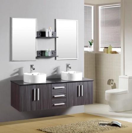 Arredo bagno mobile doppio mobile bagno pensile wenge' da 150 cm ...
