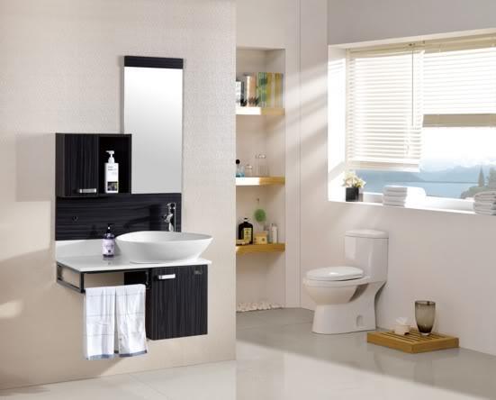 Arredo bagno mobile singolo mobile bagno pensile nero da 80 cm ...
