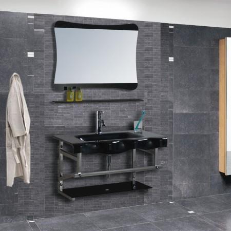 Arredo bagno mobile singolo mobile bagno pensile in vetro da 80 cm completo c g home design - Mobili bagno in vetro ...
