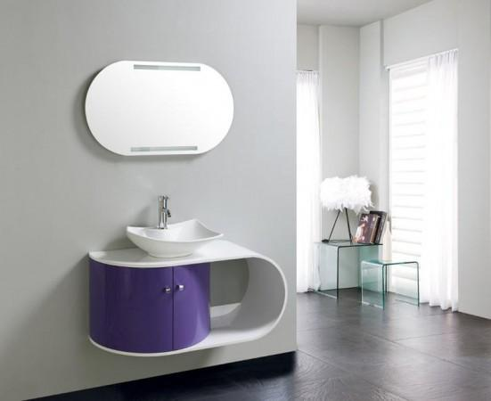 arredo bagno mobile singolo mobile bagno completo pensile 100cm ... - Arredo Bagno Viola
