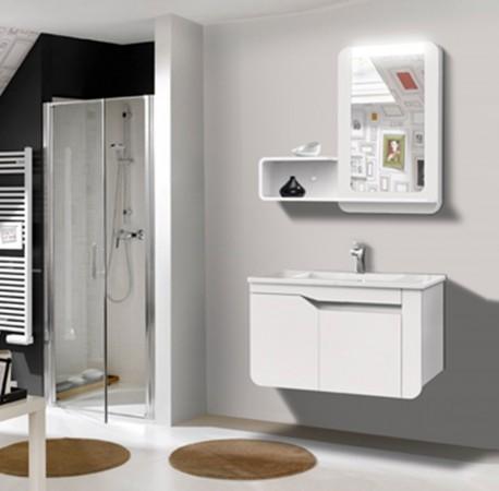 Arredo bagno mobile singolo mobile bagno pensile bianco da 80 cm completo c g home design - Specchio con mensola bagno ...
