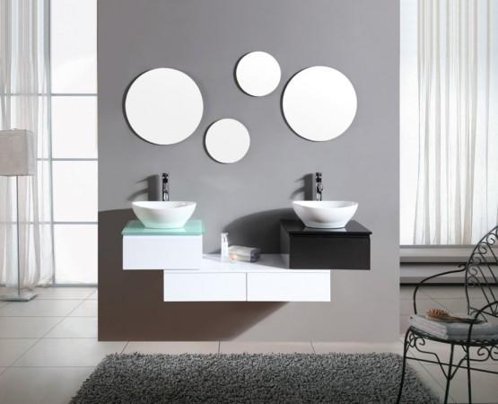 Arredo bagno mobile doppio mobile bagno pensile bianco e - Bagno bianco e nero ...