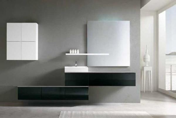 Arredo bagno mobile singolo mobile bagno pensile nero da 180 cm completo c g home design - Mobile pensile bagno ...