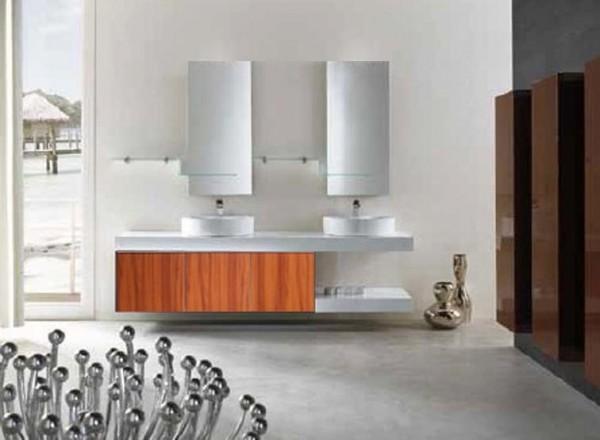 mobile bagno pensile marrone da 180 cm completo doppio lavabo