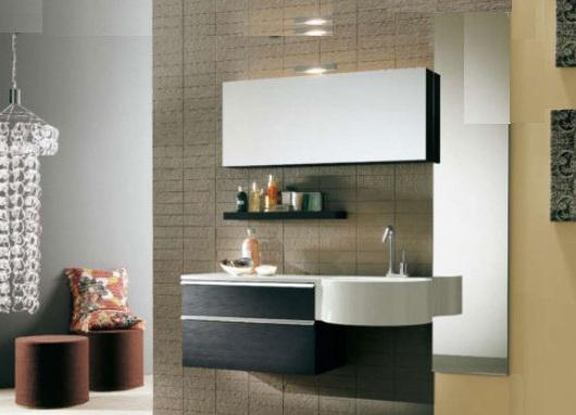 Arredo bagno mobile singolo mobile bagno pensile nero da 100 cm ...