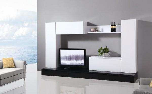 Pareti attrezzate mobile soggiorno parete attrezzata mdf bianco nero tv2 c g home design - Parete attrezzata moderna ikea ...
