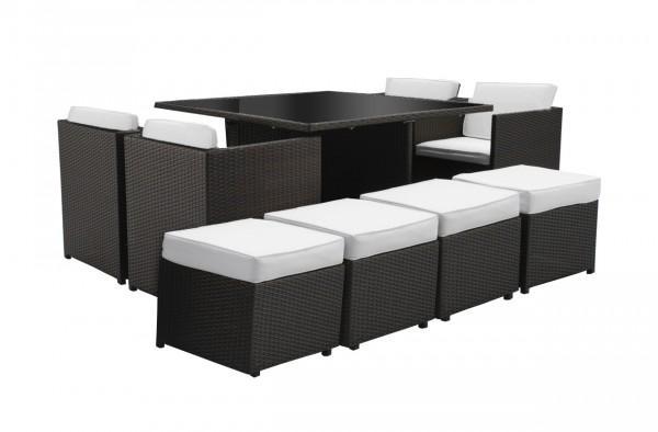 Arredamento esterno divani in rattan set tavolo pranzo - Set tavolo e sedie rattan ...