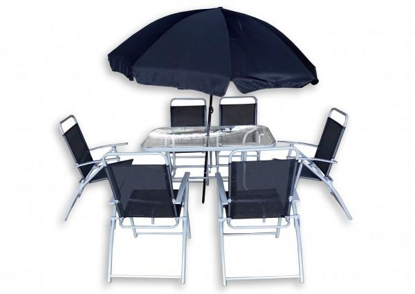 Arredamento esterno tavoli giardino set tavolo da giardino 6 sedie ferro con tavolo e ombrellone - Set tavolo e sedie da esterno ...