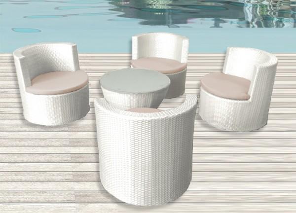 Arredamento esterno divani in rattan set tavolo sedie for Arredo giardino bianco