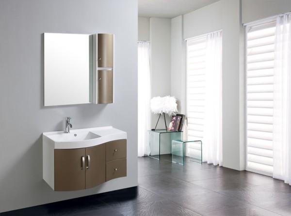 Arredo bagno mobile singolo mobile bagno completo pensile 90cm marrone c g home design - Mensole arredo bagno ...