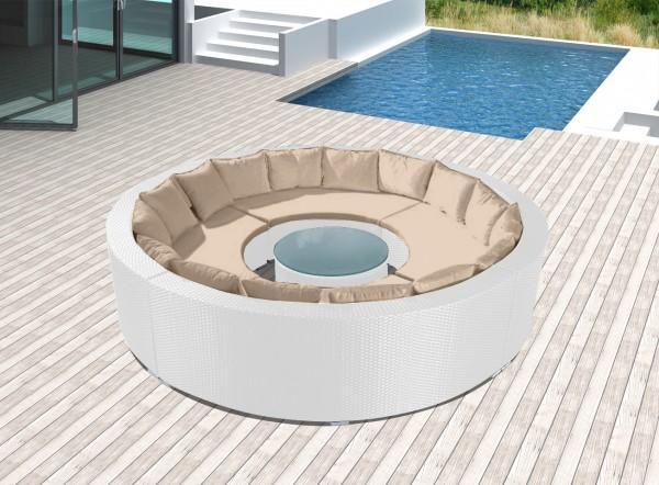 Arredamento esterno divani in rattan set divano rattan for Divano rotondo
