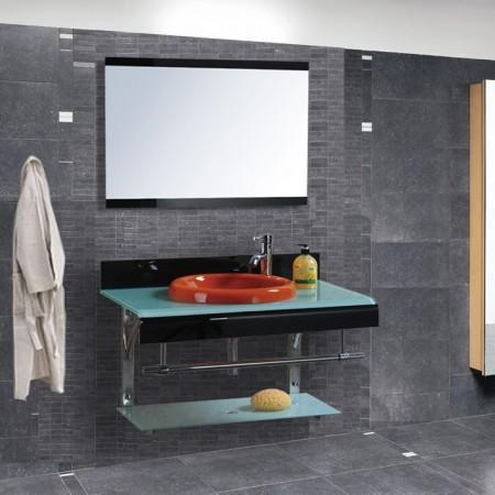 Arredo bagno mobile singolo mobile bagno pensile in vetro for Mobile bagno da 80 cm