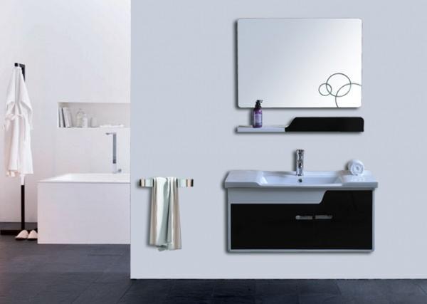 Arredo bagno mobile singolo mobile bagno pensile bianco nero da 90 cm completo c g home design - Bagno bianco nero ...
