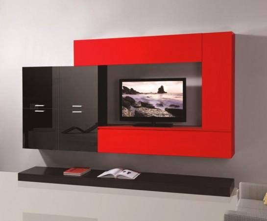 Pareti attrezzate mobile soggiorno parete attrezzata mdf for Arredamento bianco nero e rosso