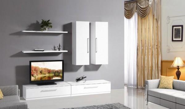 Pareti attrezzate mobile soggiorno parete attrezzata mdf for Pareti tv moderne