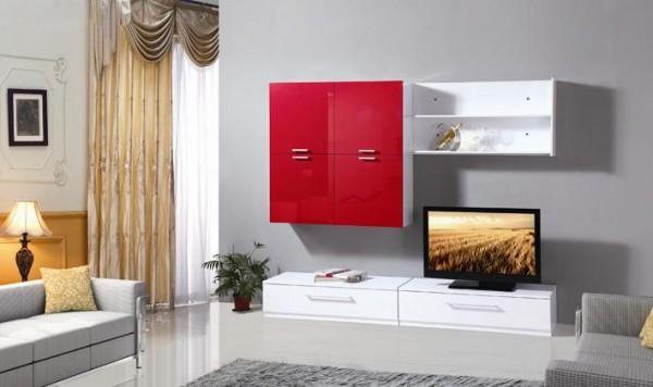 Pareti attrezzate mobile soggiorno parete attrezzata mdf bianco rosso tv3 c g home design - Parete attrezzata per soggiorno ...