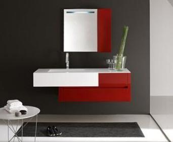 Arredo bagno mobile singolo mobile bagno pensile rosso da 100 cm