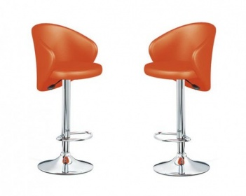 2 sgabelli da bar pub cucina casa eco pelle arancione imbottiti