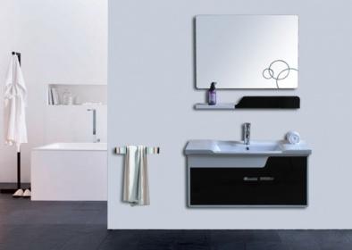 Arredo bagno mobile singolo mobile bagno pensile bianco nero da 90